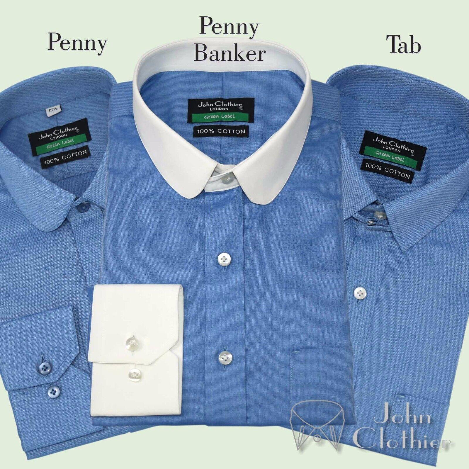Herren Shirt Penny Kragen Tab Bankier- Blau Winzig Peaky Blinders Club Bond
