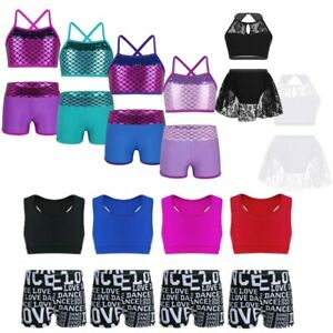 Girls Kids 2-Piece Dance Fishnet Outfit Crop Top+Bottoms Jazz Gymnastics Leotard