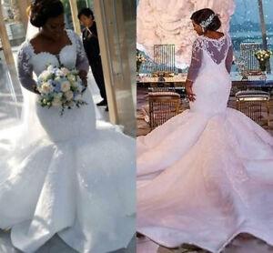 Details about Gorgeous African Mermaid Wedding Dresses Plus Size Lace  Appliques Bridal Gowns