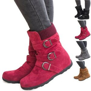 Womens-Fall-Winter-Warm-Suede-Fur-Lined-Mid-calf-Snow-Flat-Short-Boots-Shoes-US