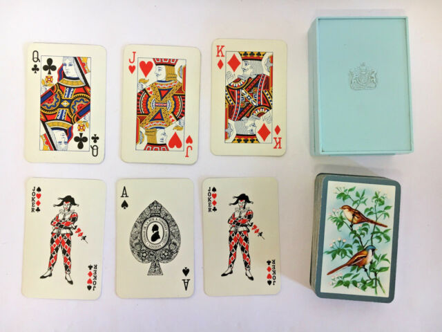 VINTAGE PLAYING CARDS THOMAS DE LA RUE BIRDS IN PLASTIC CASE