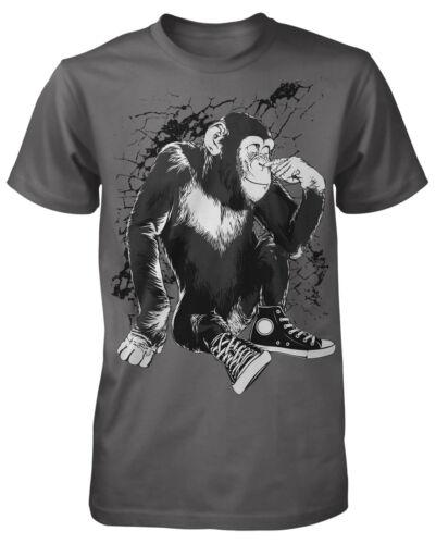 Chimpanse T-Shirt Affe Trend Gorilla Monkey Oldschool Retro Shoes Trash Kult