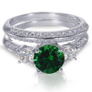 White Gold Sterling Silver Brilliant Green Emerald Wedding