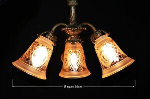Vintage-French-art-nouveau-1930s-Rococo-revival-bronze-amp-cut-glass-pendant-light