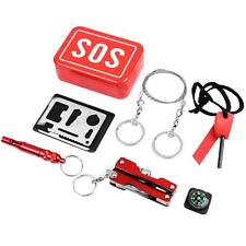 """Survival Gear Kits Set First Aid Emergency Tools with """"SOS"""" Tin Box for Outdoors"""