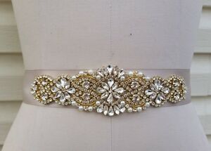 "Wedding Sash Belt ROSE GOLD CLEAR Crystal Pearl Sash Belt = 7 1//4/"" long trim"