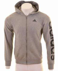 ADIDAS-Mens-Hoodie-Sweater-Medium-Grey-Cotton-GO06