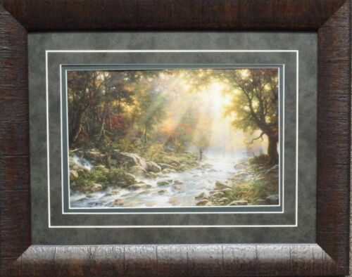 """Larry Dyke River of Light Trout Fishing Print Framed 19/"""" x 15/"""""""