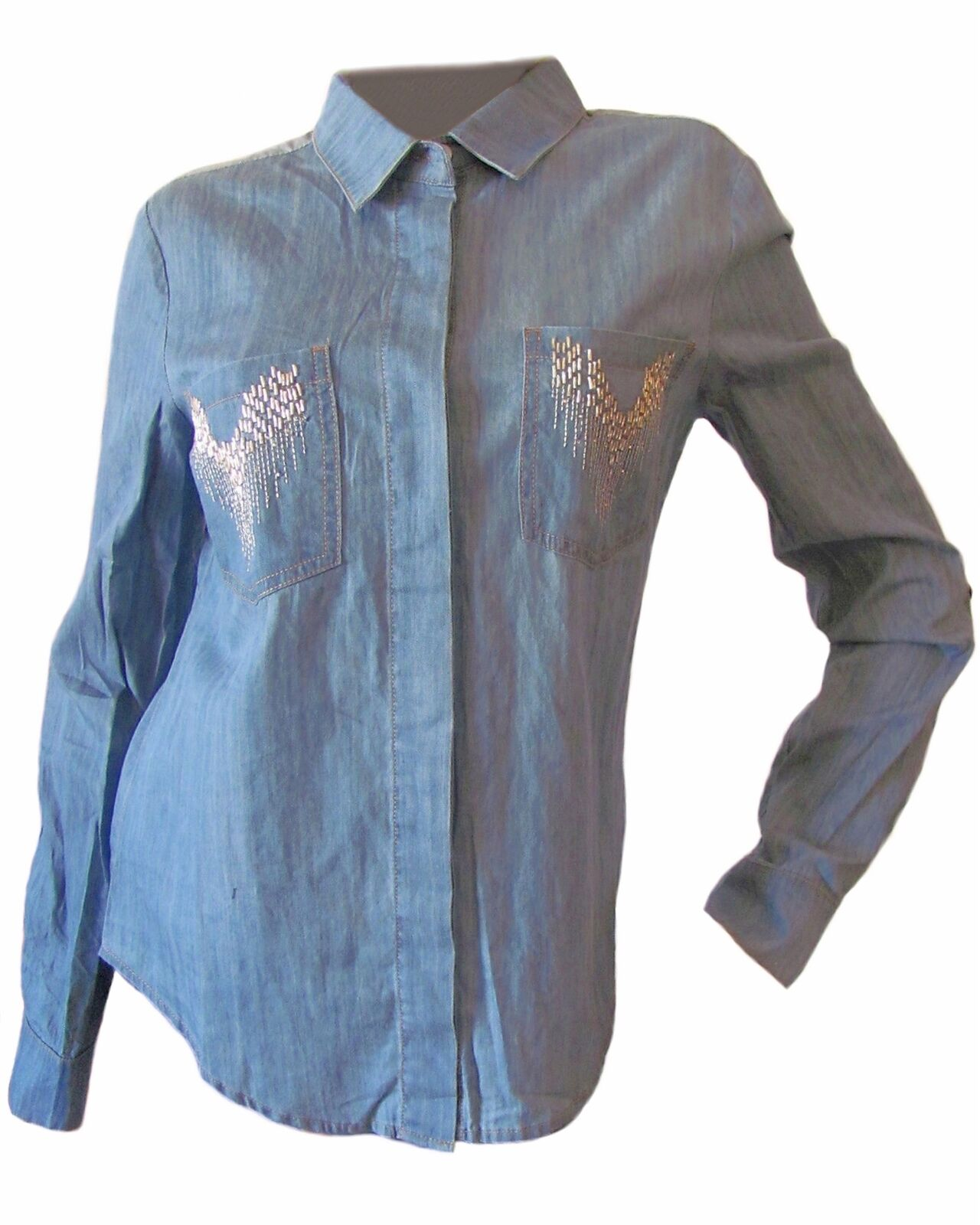 New MISS ME Woherren Blau Casual Embellished Button Down L S Woven Shirt Top