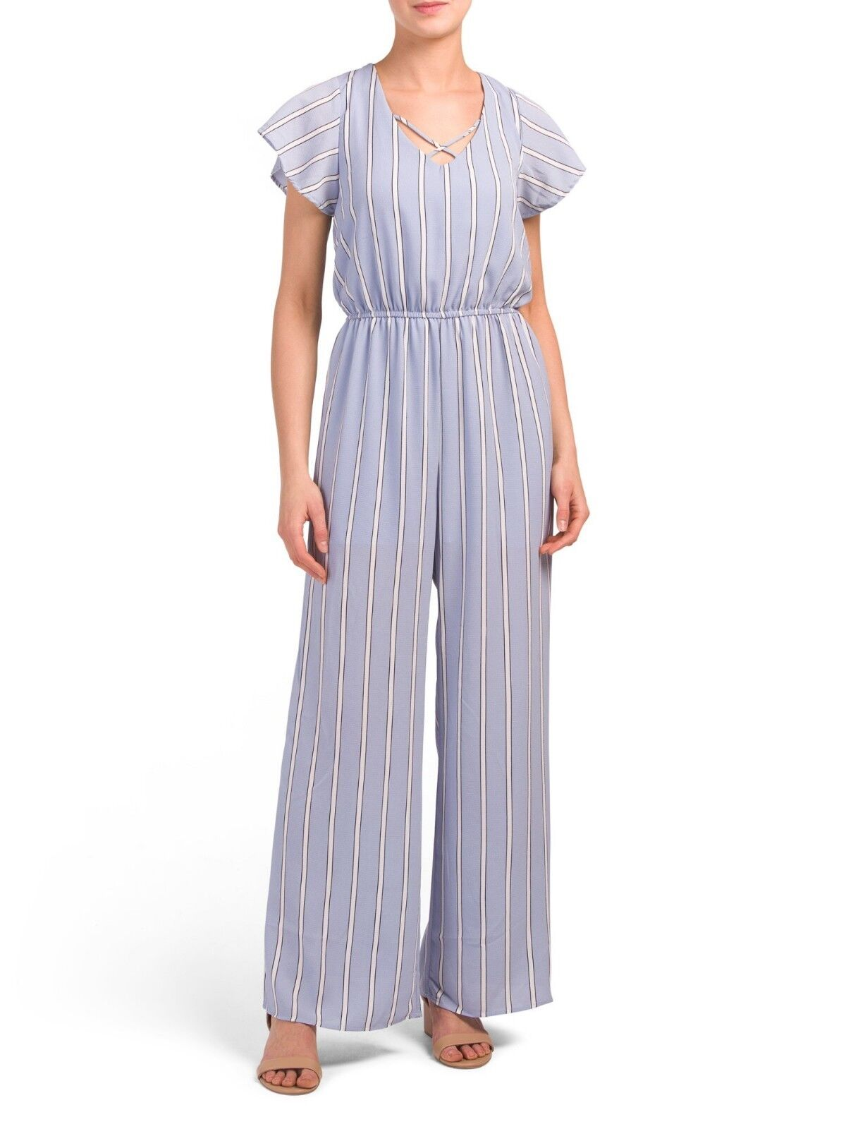 Brand New ONE CLOTHING Juniors Stripe X-front Jumpsuit