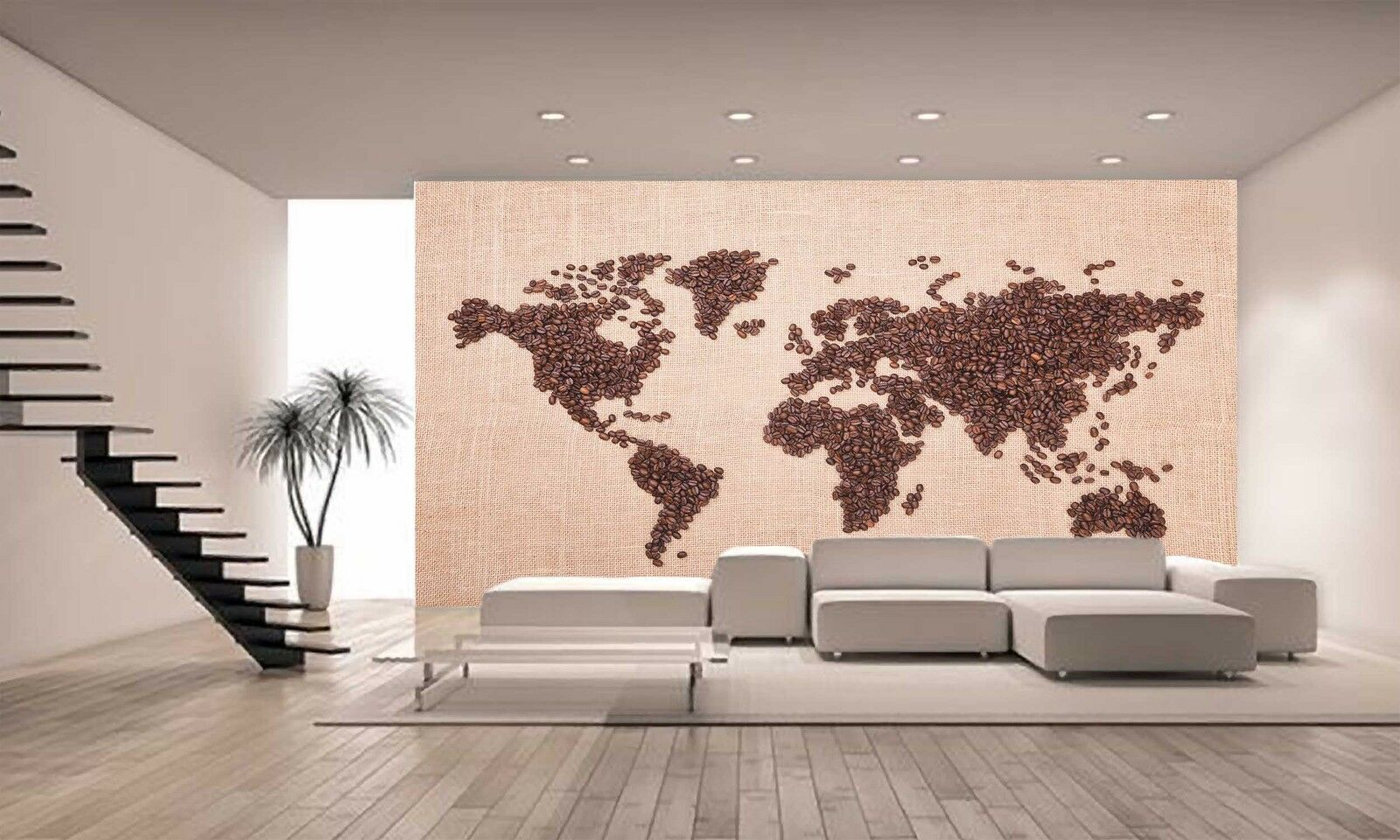 MAP MADE OF COFFEE BEANS Wall Mural Photo Wallpaper GIANT DECOR Paper Poster