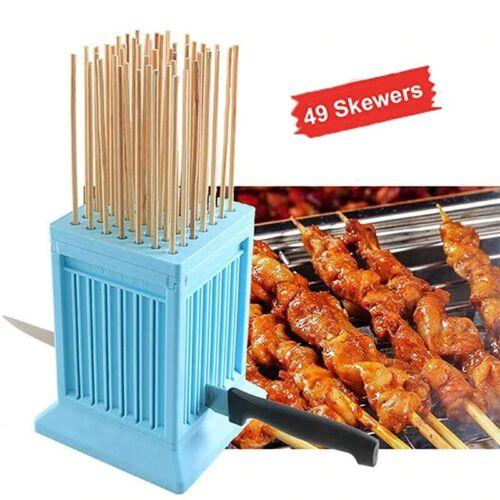 Details about  /BBQ Skewer Meat Maker Meat Skewer Tool 49 Holes Kebab Making Box