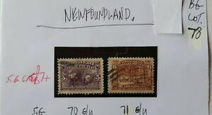 2X-NEWFOUNDLAND-5C-1897-MINING-amp-6C-LOGGING-STAMPS-G-U