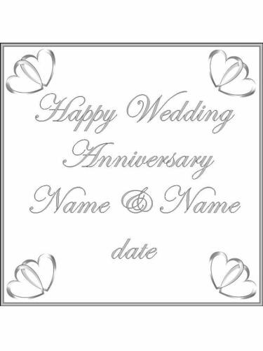 Anniversary silver hearts personalised Wafer or Icing edible Square Cake topper