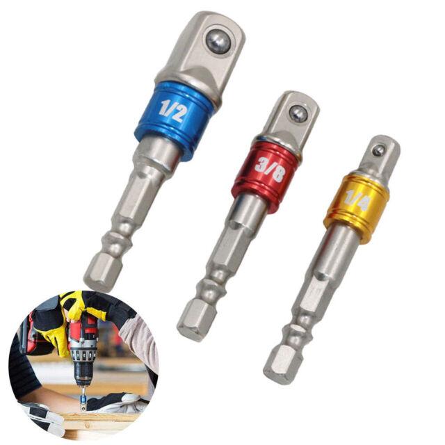 """1//2/"""" 3//8/"""" 1//4/"""" Bohrmaschinen Bohrfutter Adapter Set Bit Stecknuss Nuss Halter DE"""