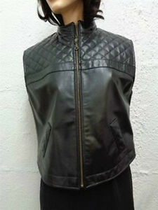 10 Woman Size New Jacket Vest Women 8 Medium Leather Brand Black 0Yqzz