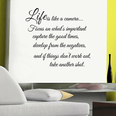 Life is like a camera Quote Words Art DIY Removable Wall Sticker Decal