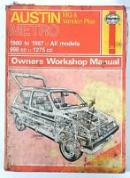 Haynes Manual - AUSTIN METRO 1980 to 1987 All Models 998cc 1275cc
