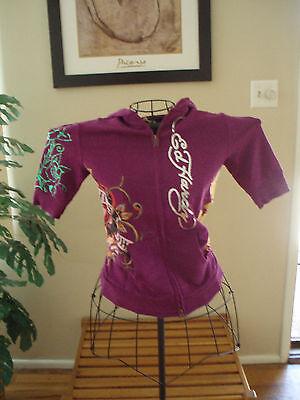 Ed Hardy intimates  purple love kills slowly s/s hoodie zip front juniors small
