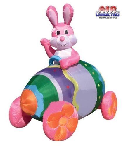7 Ft Easter Bunny Riding In Egg Car Air Blown Yard Decoration NIB
