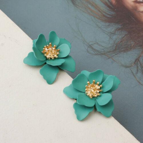Women Charm Boho Painting Big Flowers Ear Stud Earrings Summer Beach Jewelry/_AU