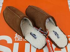 SUPERDRY Slipper Men's Leather Mule Heel-Less Size S Luxury Brown Slippers BNWT