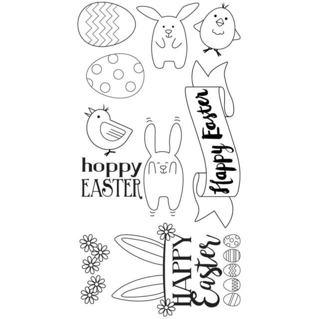 Sizzix Clear Stamp Set - HOPPY EASTER - Bunnies, eggs, chicks