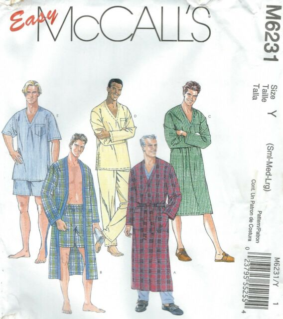 Mens Mccall\'s M6231 Sleepwear Pajamas Robe Sewing Pattern Size Y (s ...