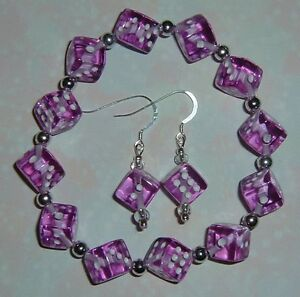 Purple-Dice-Jewelry-Set-Bracelet-amp-Earrings-Bunco-Bunko-Casino-Party-Gamers