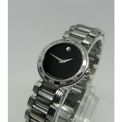 Womens Authentic Swiss Movado Diamond Bezel Serenade 0605033 Museum Dial Watch