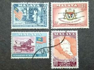 1957-Federation-Of-Malaya-General-Issue-Complete-Set-4v-Used-1