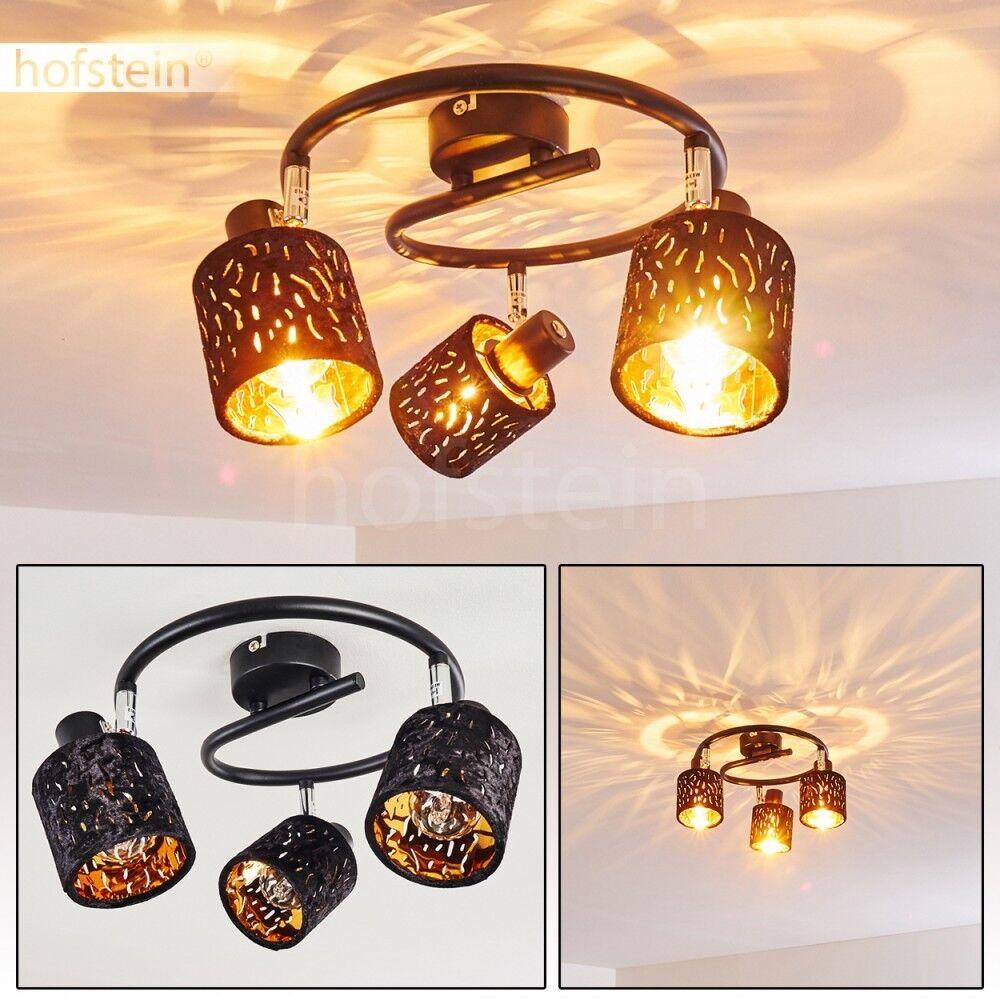 Samt Decken Leuchten schwarz Gold Wohn Schlaf Zimmer Flur Strahler verstellbar