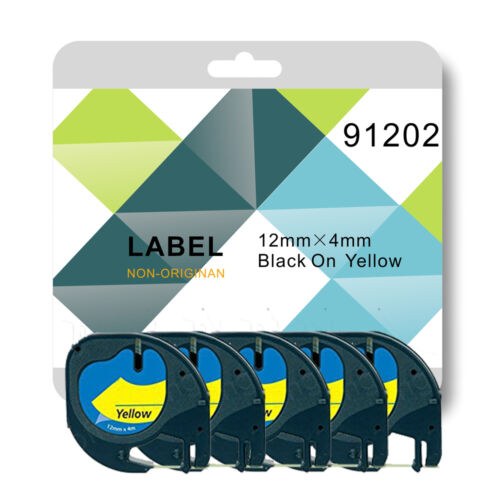 1 for DYMO LETRATAG label maker 2 or 5 tape 91202 yellow plastic 12mm*4m Compa