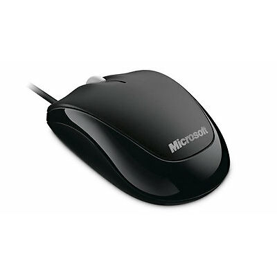 NEW Microsoft Compact Optical Mini Mouse 500 USB Wired BLACK Laptop Notebook PC