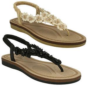 f0988 DONNE Savannah Strass fiori sandali infradito sandali con cinturino
