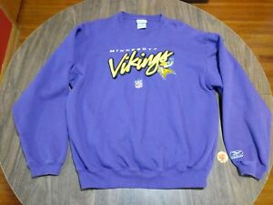 size 40 04553 b4f7d Details about Minnesota Vikings Reebok Purple Sweatshirt Embroidered NFL  Size Large L