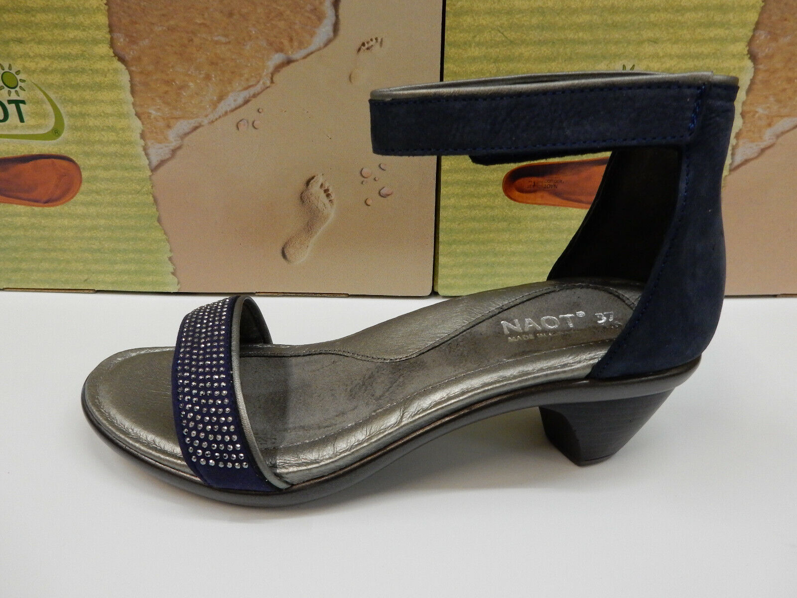 Naot Womens Progress Navy Velvet Nubuck Sterling Leather Metal Rivets Size Eu 40