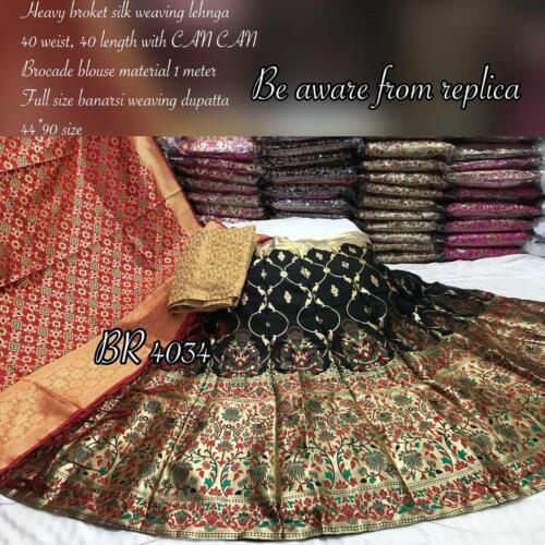 Beautiful heavy silk lehenga  brocade  blouse material 1 mtr  banarasi duptta