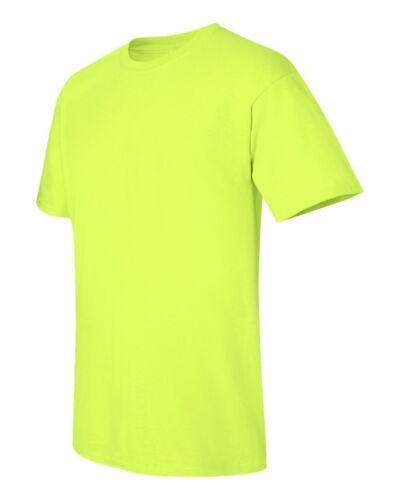 3 NEW Gildan 5000 Heavy Cotton 50//50 SAFETY GREEN Adult T-Shirts S M L XL XXL