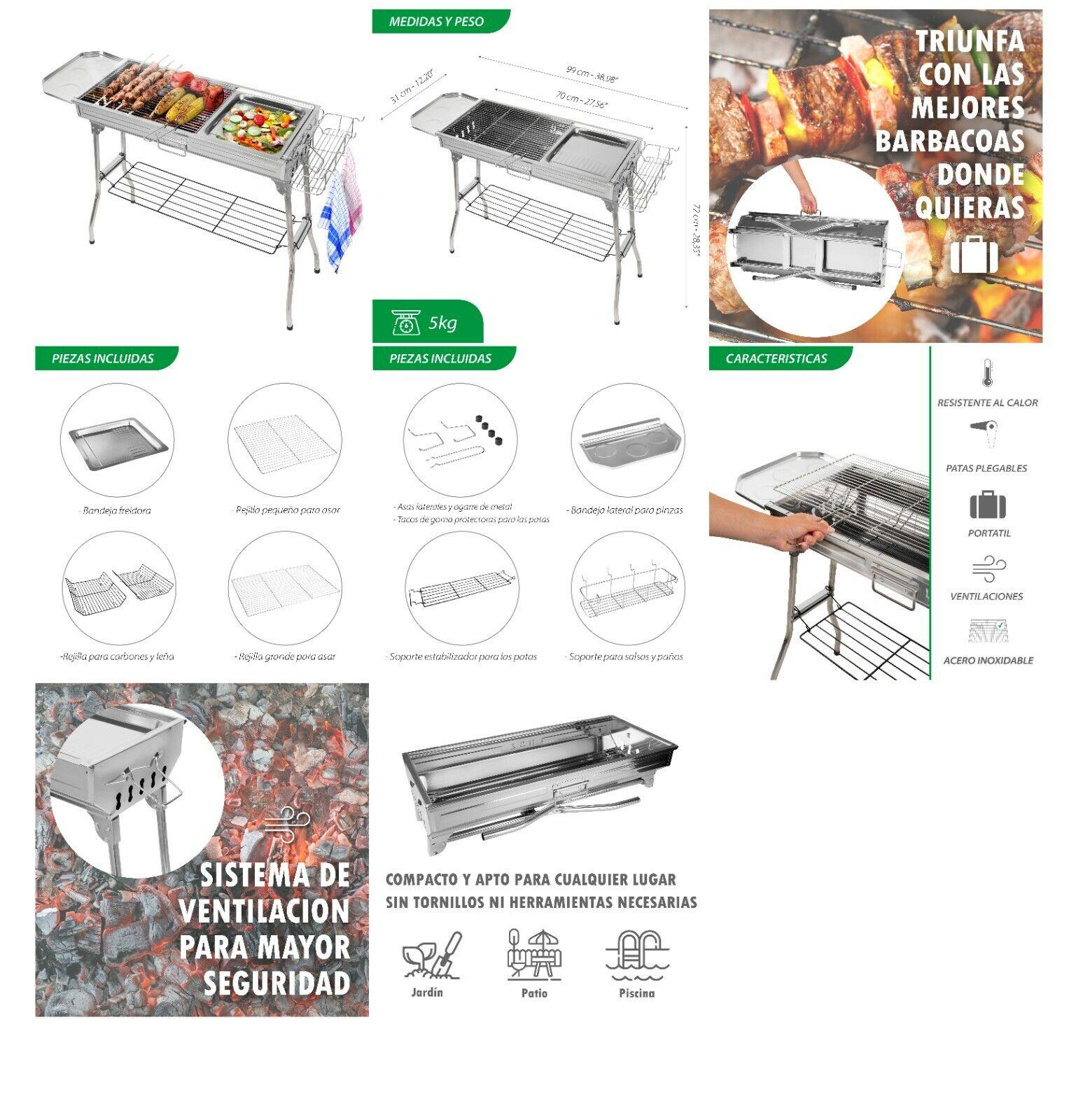 Barbacoa de Carbón BBQ Portátil Parilla de Carbón Plegable Acampada Picnic al