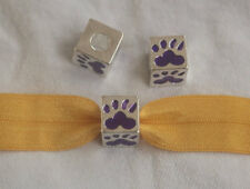 wholesale Lot 44 silver square PURPLE slide PAW Print charm Charms jewelry CH257