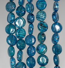 "10MM BLUE SCHILLER SHEEN SPAR GEMSTONE FLAT ROUND CIRCLE LOOSE BEADS 8"""
