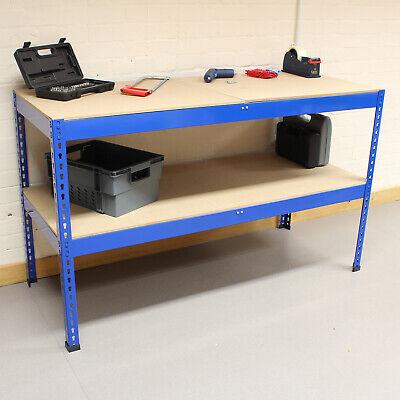 1 5m Blue Heavy Duty Steel Work Bench Station Shelves For Garage Warehouse Shed 5051990704008 Ebay