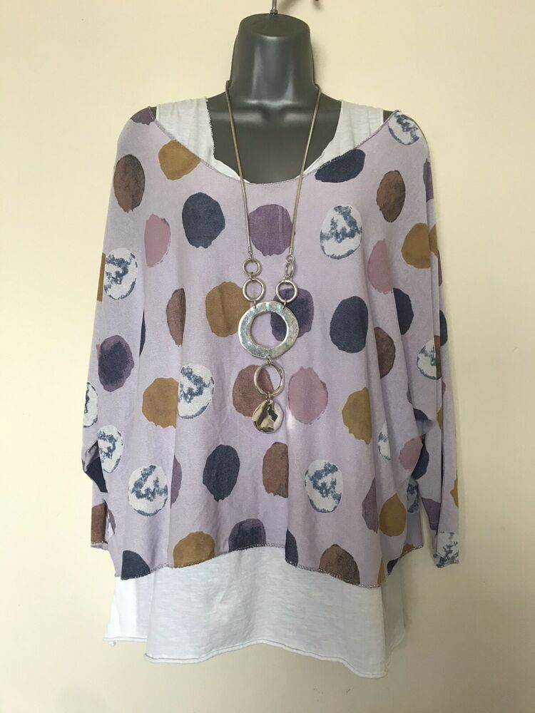 Neuf Italien Lagenlook Lilas Spot Print Layered Top-taille Unique (uk 14 16 18) - Bnwt