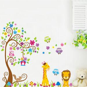 Kinderzimmer baby wände eule  Wandtattoo Wandsticker XXL Deko Tiere Kinder Eule Wald Löwe ...
