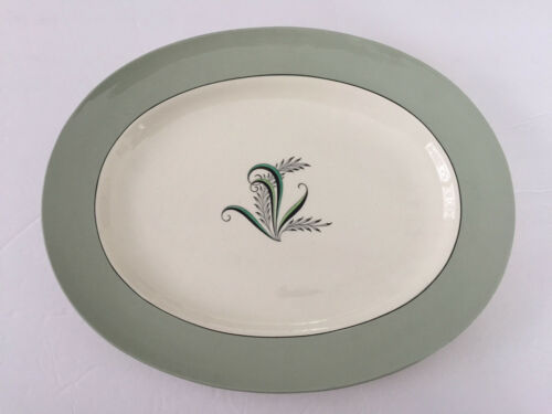 "Copeland Spode China Olympus, Green & Black Plants 15"" OVAL SERVING PLATTER"