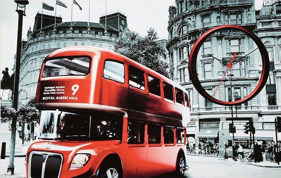 TOP London Bild Bus Royal Albert Hall mit Uhr   70cm x 45cm