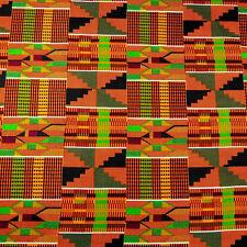 KENTE Fabric Java Wax Hollandais 2539303 African ghana Kente cloth print in red  blue green Ankara Cotton Fabrics