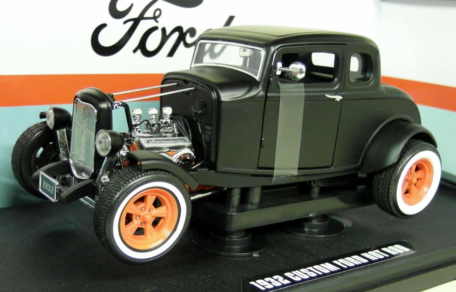 Verdelight 1/18 SCALA 1932 FORD Personalizzato Hot Rod Opaco Nero Auto Modello Diecast