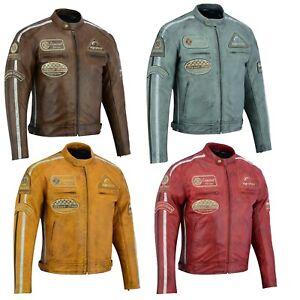 Herren Motorradjacke Classic Motorrad Lederjacke Retro Biker Jacke schwarz Neu.